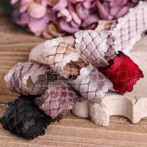 Image 4 - 100 ヤード 25 ミリメートル 38 ミリメートルピコットエッジベルベットダイヤモンドチェック柄韓国リボン結婚式のパーティー用品の毛の弓のアクセサリー