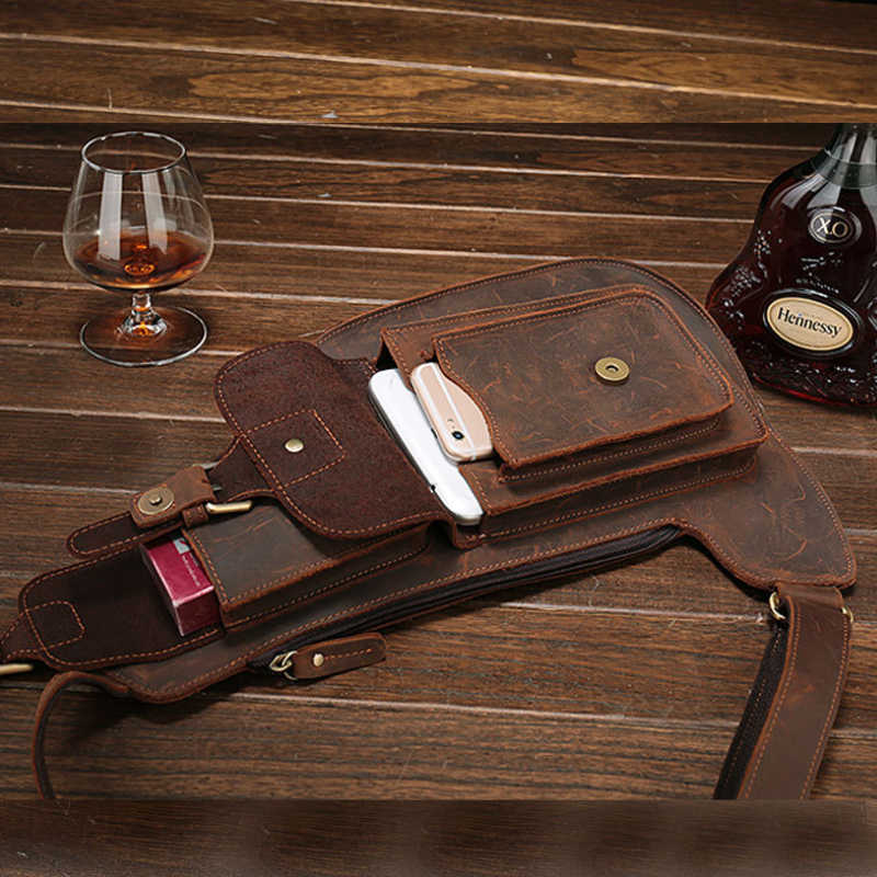 MAHEU Crazy Horse Leder Große Brust Tasche Aus Echtem Leder Sling Tasche Mans Brust Pack Leder Umhängetaschen Für Männer Sport reiten