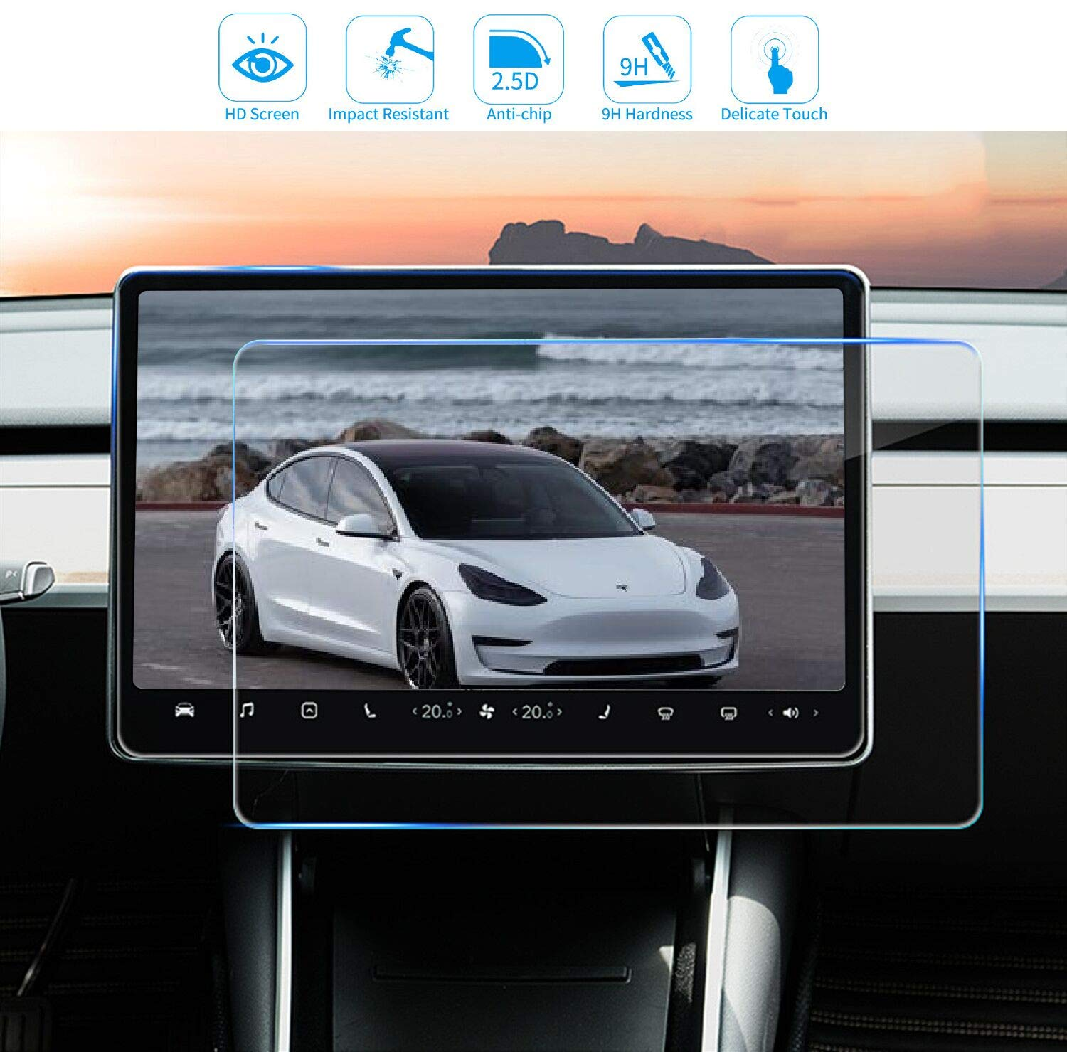 For Tesla Model 3 Y 15 Inch Center Control Car Navigation Touch Screen Protector Tempered Glass Anti-Scratch