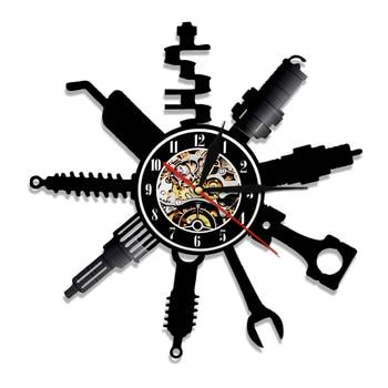 Auto Repair Shop Wall Sign Decorative Modern Wall Clock Car Mechanic Service Workshop Vinyl Record Clock  Garage Repairman Gift 7