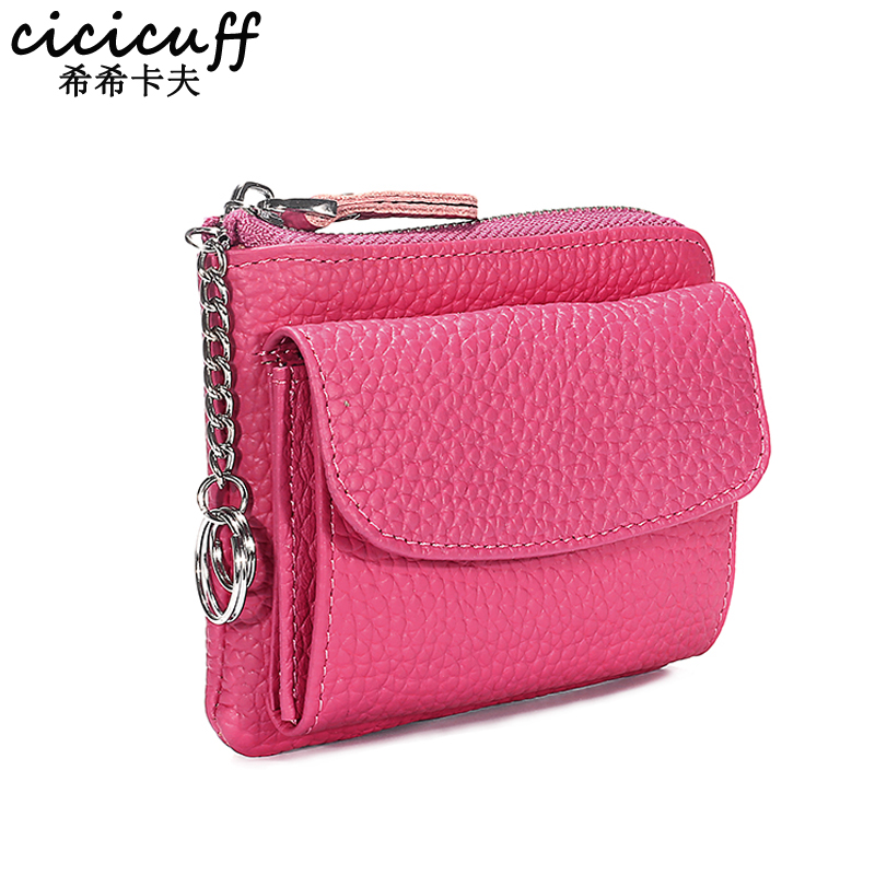 CICICUFF Coin Purse Genuine Leather Female Short Change Wallet Purses Card Holder Zipper Pocket Mini Bag