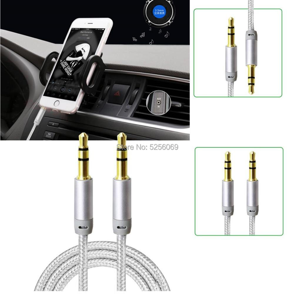 Home®Auxiliary Audio Cable Jack 3,5mm Male To Male-Braid Nylon-silver Color 1 M/ 3M