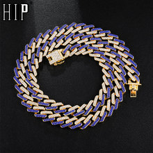 Hip Hop 13MM Bling Iced Out Miami Zircon Cuban Full Pave Rhinestone Mens Necklace Gold Silver Necklaces For Men Jewelry