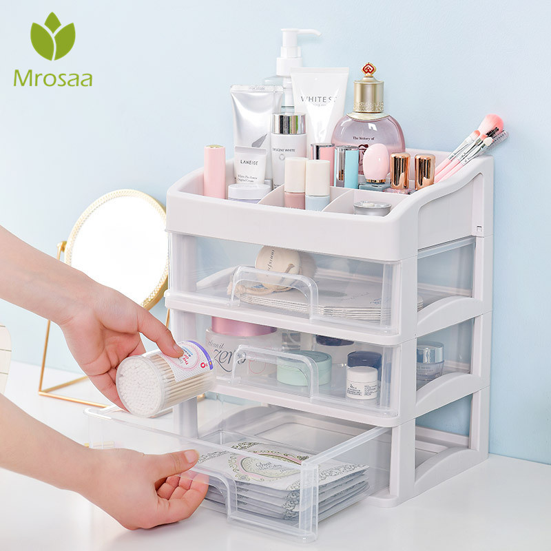 Plastic Makeup Storage Box  Cosmetic Drawer Container Makeup Organizer Nail Casket Holder Desktop Sundry Storage Case Bead Tools
