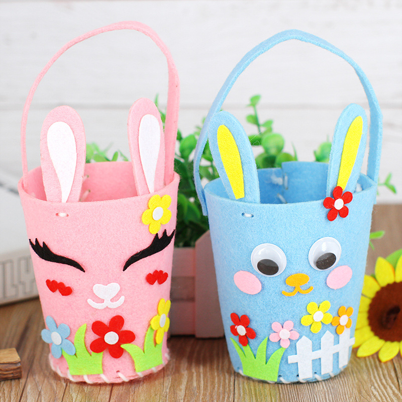 Easter Rabbit Handbag Nonwoven Fabric DIY Handmade Material Package Children's Educational Toys Creative Handwork Girl Toys 2PCS