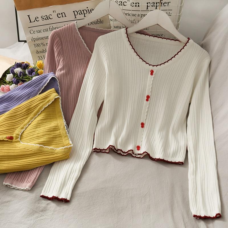HELIAR-camisetas cortas tejidas para mujer, ropa informal lisa con botones para mujer, cuello en V, otoño 2020