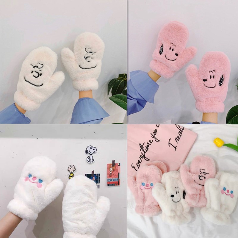 Lovely Cartoon Gloves Women Full Finger Glove Winter Female Thick Plush  Ladies Glove For Girls Hand Warmer Gluves  Adult Wrist