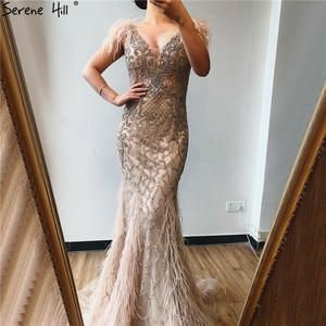 Image 5 - יוקרה V צוואר נוצות סקסי בת ים ערב שמלות 2020 יהלומי שרוולים נשים פורמליות שמלות Serene היל DLA70350