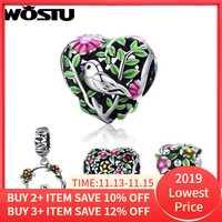 WOSTU offre spéciale réel 925 argent Sterling oiseau dans les bois breloque ajustement wst perles Bracelet mode Original bijoux à bricoler soi-même cadeau