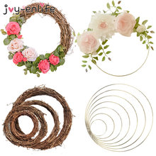 Décoration de mariage en rotin 10-40cm, couronne en cerceau métallique, décor Floral, pour noël, pour la maison, fleur artificielle suspendue