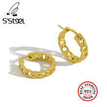 S'STEEL – boucles d'oreilles coréennes minimalistes Pour femmes, Bijoux en Argent Massif, 925