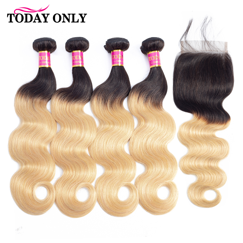 TODAYONLY Peruvian Body Wave 4 Bundles With Closure Burgundy Blonde Bundles With Closure Remy Human Hair Bundles With Closure