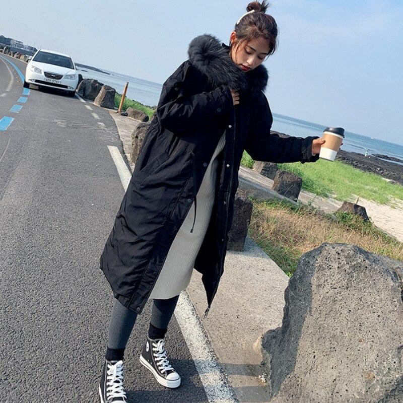 2019 New Style Parka Long Over-the-Knee Korean-style Women's Thick Oversized Fur Collar Cotton Coat WOMEN'S Coat