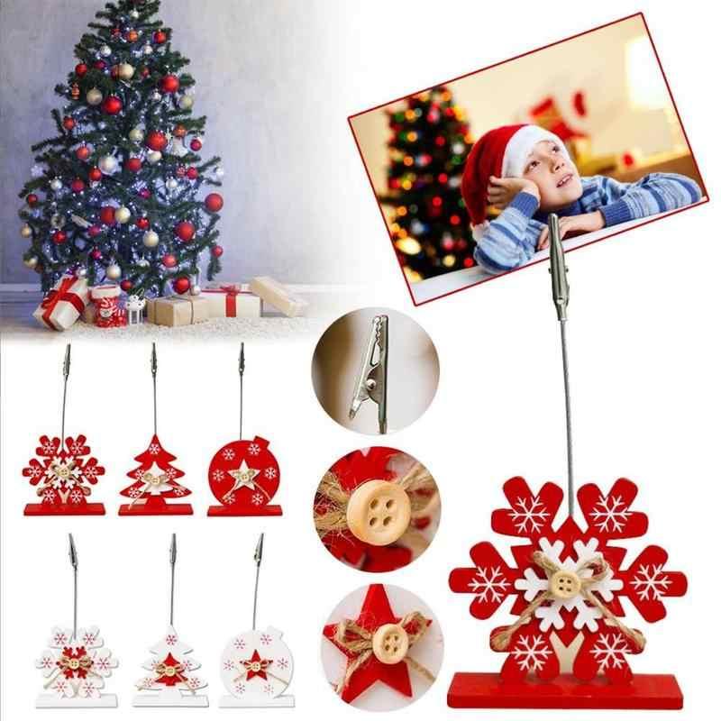 Soporte de tarjetas de visita de madera de Navidad Clip de notas de Metal de madera tarjetero notas Clips de papel de oficina y material escolar regalo