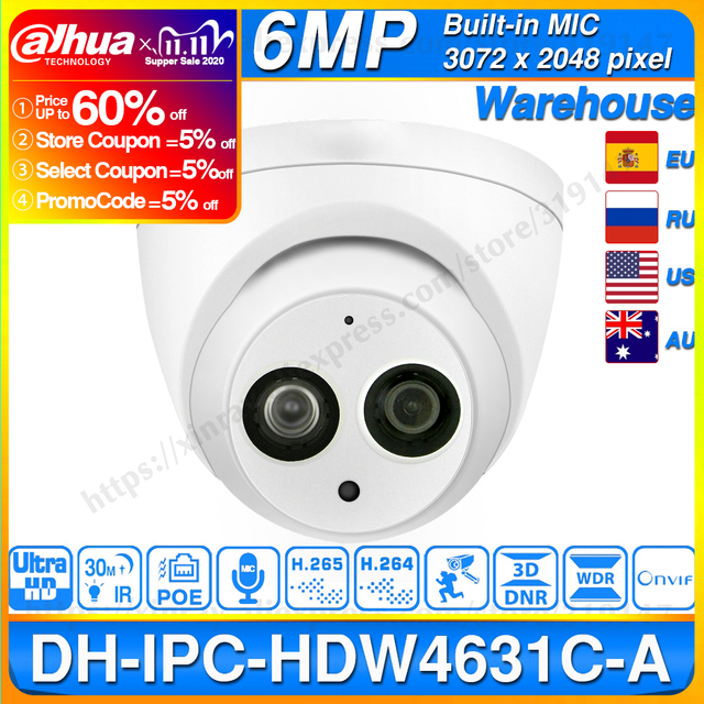 Dahua IPC HDW4631C A 6MP HD POE Network Mini Dome IP Camera Metal Case Built in MIC CCTV Camera 30M IR Dahua IK10 HDW4631C A