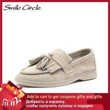 Flats-Shoes Moccasins-Size Smile-Circle/loafers Ballets Slip-On Genuine-Leather Women