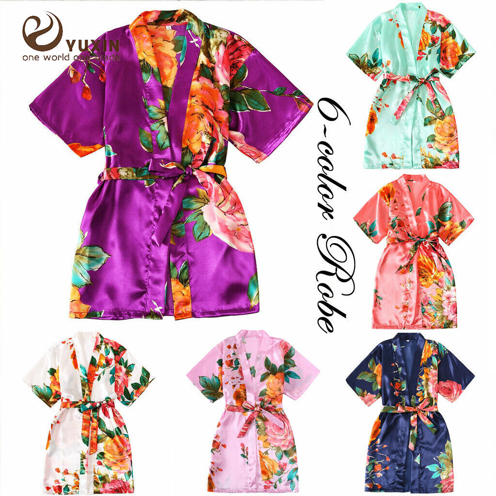 S-L Girl Child Floral Silk Kids Kimono Flower Bridesmaid Bride Robe Women Satin Robes Wedding Nightgown Dress Woman Bathrobe