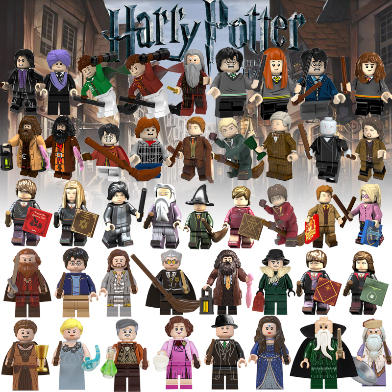 Minifigured Legoed Harryed Potters Building Blocks Dobby Professor Flitwick Luna Lovegood Cdric Diggory Children Toys Gifts
