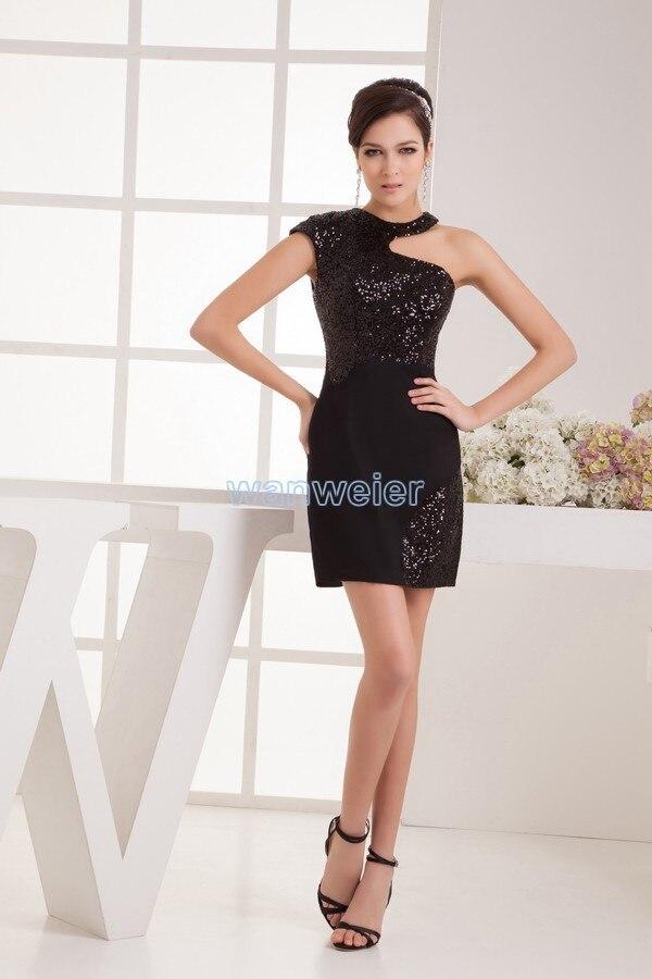 Livraison gratuite 2020 nouveau design de mode réel image sexy une épaule licou noir perles taille personnalisée/couleur courte robe de Cocktail