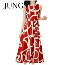 Frauen Ärmelloses Kleid Reife Großzügige Casual O-ansatz Gedruckt Hohe Taille Damen Dünne Kleider Ankle Schönheit Vestidos Frau Kleid