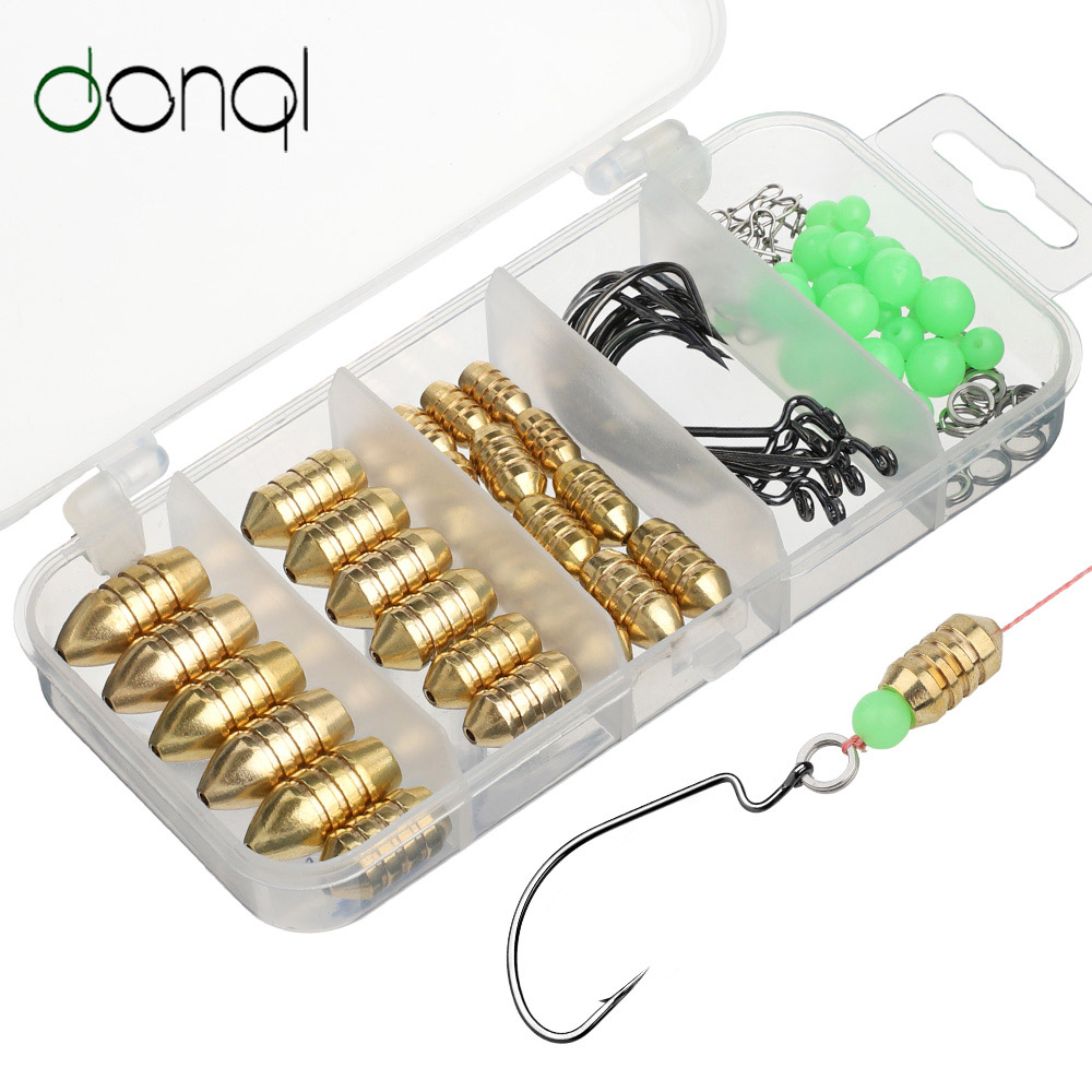 DONQL Brass Weight Sinker Swivel Hook Fishing Accessories Kit Bullet Brass Weights For Inline Spinner For Fishing Tackle