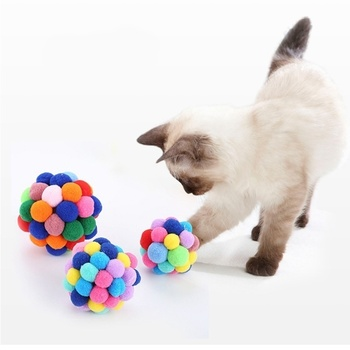 Funny Cat Toy Ball Catnip Colorful Handmade Bell Built-in Ball Pet Supplies Pet Toy Cat and Dog Built-in Scratching Device