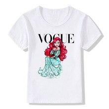 VOGUE Harajuku Summer Girls 12Colors Printed Princess Pattern Casual T-Shirt kids white Modal Short sleeve T Shirts Clothes Tops