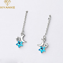 XIYANIKE-pendientes de borla ondulada para mujer, de Plata de Ley 925, para boda, parejas, estrella azul, joyería geométrica hecha a mano