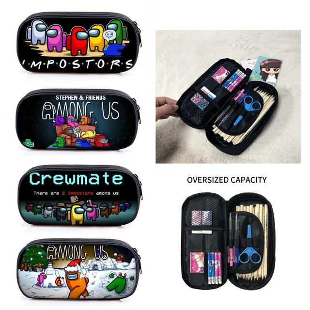 Among Us Game toy Figure Pen Case Student School Supplies Anime Stationery Box Child Study Pencil Bag Christmas Gift 1