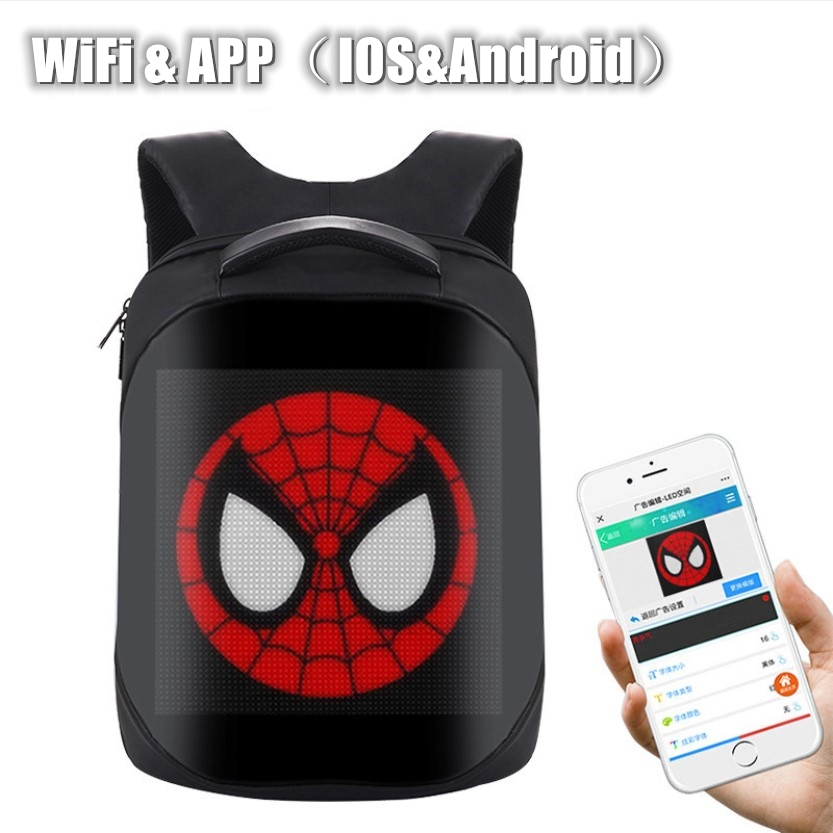 Latest Wifi(IOS&Android APP) Innovative Backpack With LED Display Screen Backpack Waterproof For Walking Outdoor Advertising
