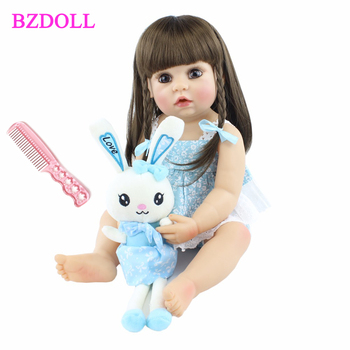 55cm Full Silicone Body Reborn Baby Girl Doll Toy Vinyl Long Hair Princess Toddler Babies Child Cute Birthday Gift Bathe Toy