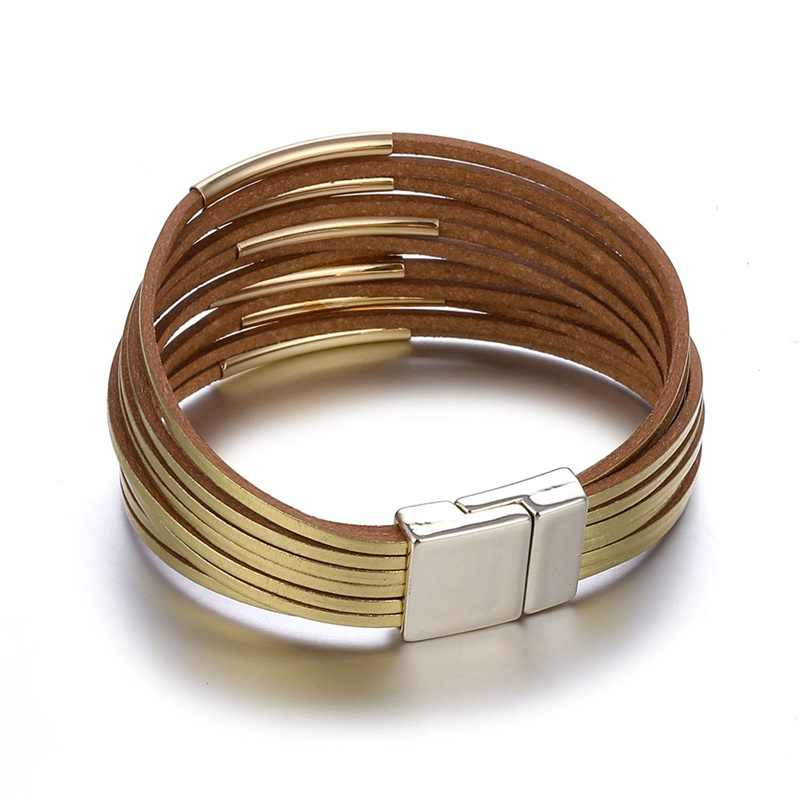 VKME moda wielowarstwowe skórzane bransoletka dla kobiet mężczyzna w stylu Vintage złoto srebro para przyjaźń bransoletki i Bangles prezent biżuteria