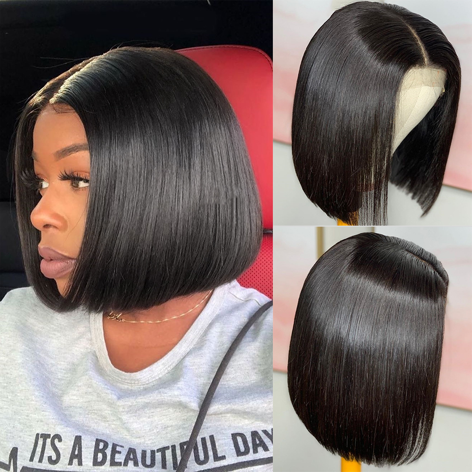 Short Straight Lace Front Human Hair Wigs