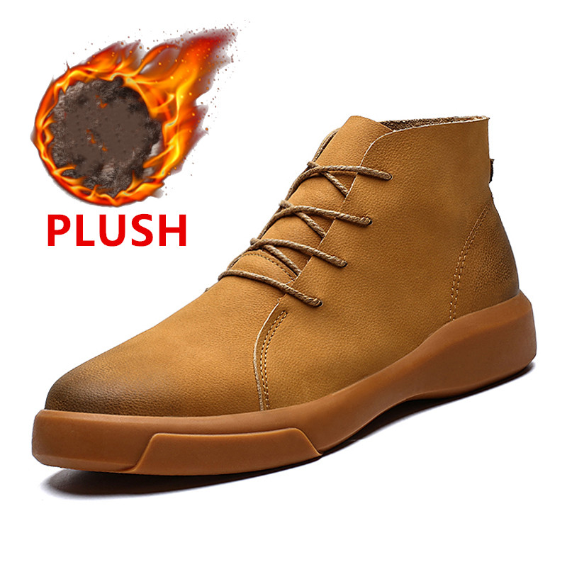 Brand New Winter Men Snow Boots Fashion Lace up Ankle Boots Genuine Leather Warm Plush Men