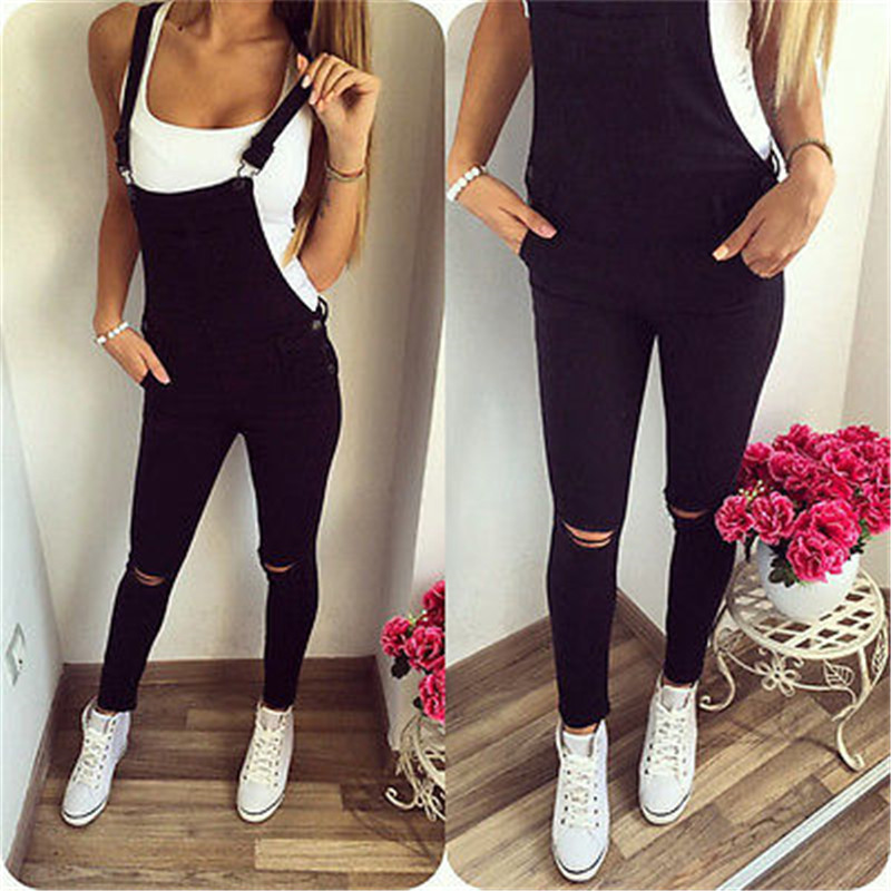 Spring Autumn Casual Overalls Women Baggy Denim Jeans Jumpsuit Bib Full Length Pinafore Dungaree Overall Jumpsuit Pants