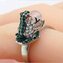 Personality women jewelry frog design inlay rhinestone party