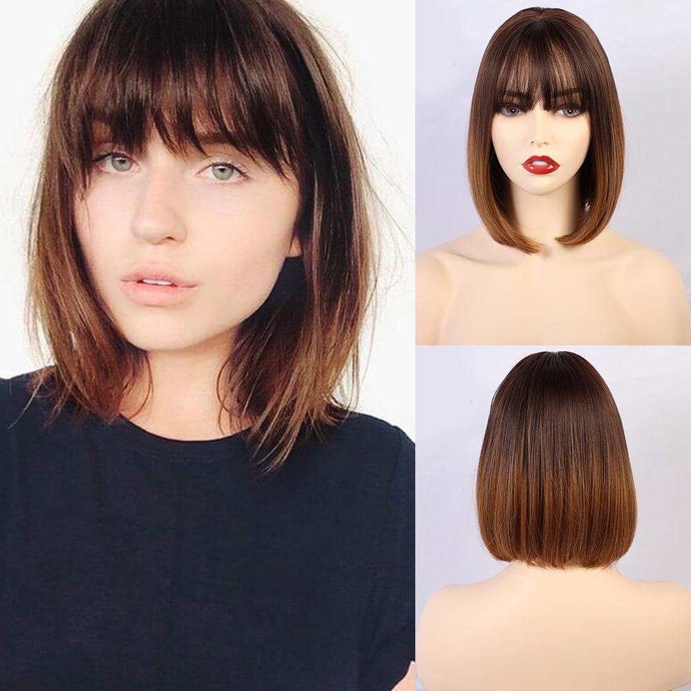 Blonde Unicorn Synthetic Bob Wigs Ombre Brown Short Straight Women's Wig With Bangs Heat Resistant Bobo Hairstyle Cosplay Wigs
