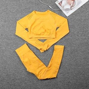 Image 5 - Женский спортивный костюм, бесшовная одежда для спортзала, Женский комплект для спортзала и йоги, леггинсы для фитнеса + укороченные рубашки, комплекты для тренировок, спортивный костюм, наряды