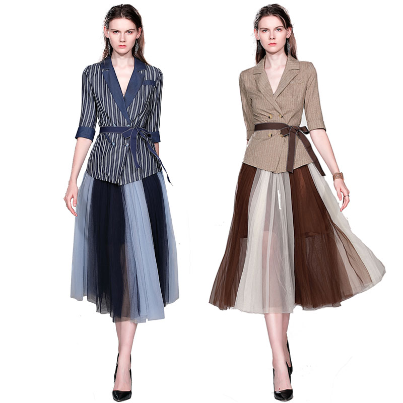 Vogue Blazer Skirt Sets Women 2 Pieces Sashes Double Breasted Back Slit Blazer&Maxi Patchwork  Mesh Skirt Lady Elegant Work Sets