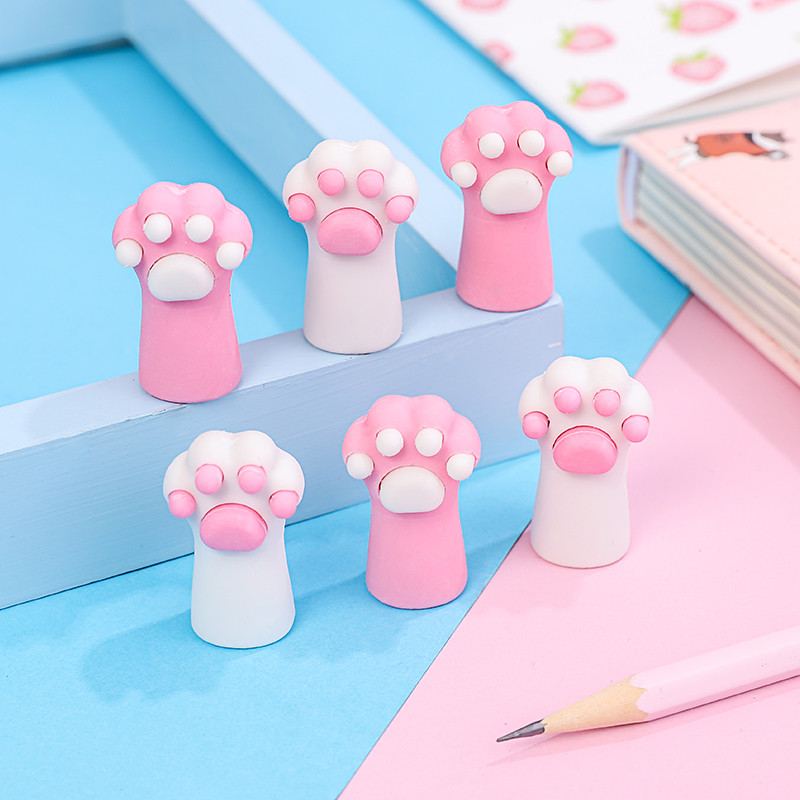 3pcs/set Detachable Cat Claw Pencil Cap Erasers Children's Creative Soft Rubber Erasers Correction Stationery Novelty Gift