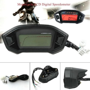 all new universal motorcycle digital motorcycle speedometer retro lcd odometer cafe racer tachometer indicator scooter atv meter Universal Motorcycle Speedometer LCD Digital Odometer Tachometer Backlight Modified Part Motorcycle Water Temperature Gauges