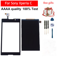 Hitam/Putih untuk Sony Xperia C S39h C2304 C2305 Sentuh Layar Digitizer Panel Sensor Kaca + LCD Display Panel monitor Module(China)