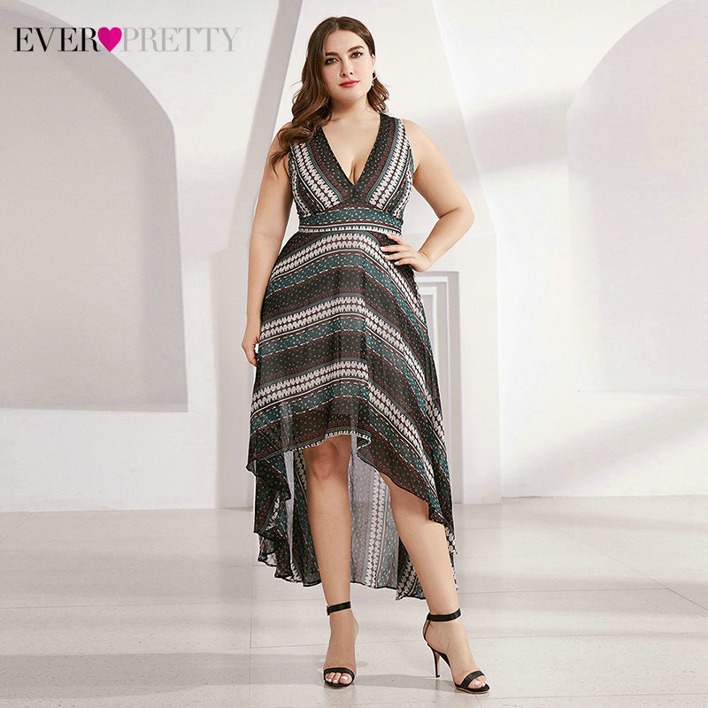 Sexy Short Printed Cocktail Dress Ever Pretty AS05971NB V-Neck Sleeveless Asymmetrical Simple Party Gowns Robe Cocktail Femme