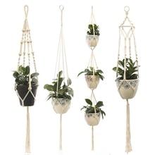 100% Cotton Hanging Baskets Handmade Plant Hanger Flowerpot Holder Basket Hanging Flowerpot Net Vintage Macrame Plant Hangers