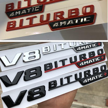 1 pc V8 BITURBO 4matic + para a Mercedes Benz w117 w205 w207 w212 c63 e63 AMG w176 a45 x156 cla45 gla45 fender emblema etiqueta do carro