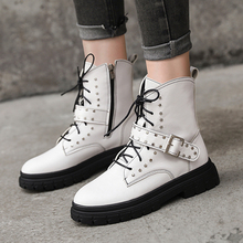 Fashion White Boots Leather Black Women 2019 New Combat For Autumn Platform Martin Ankle