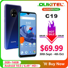 OUKITEL C19 6.49 ''HD + 2GB 16GB Smartphone MTK6737 Ouad Core Android 10.0 Ponsel 4000M Ah TYPE-C(China)