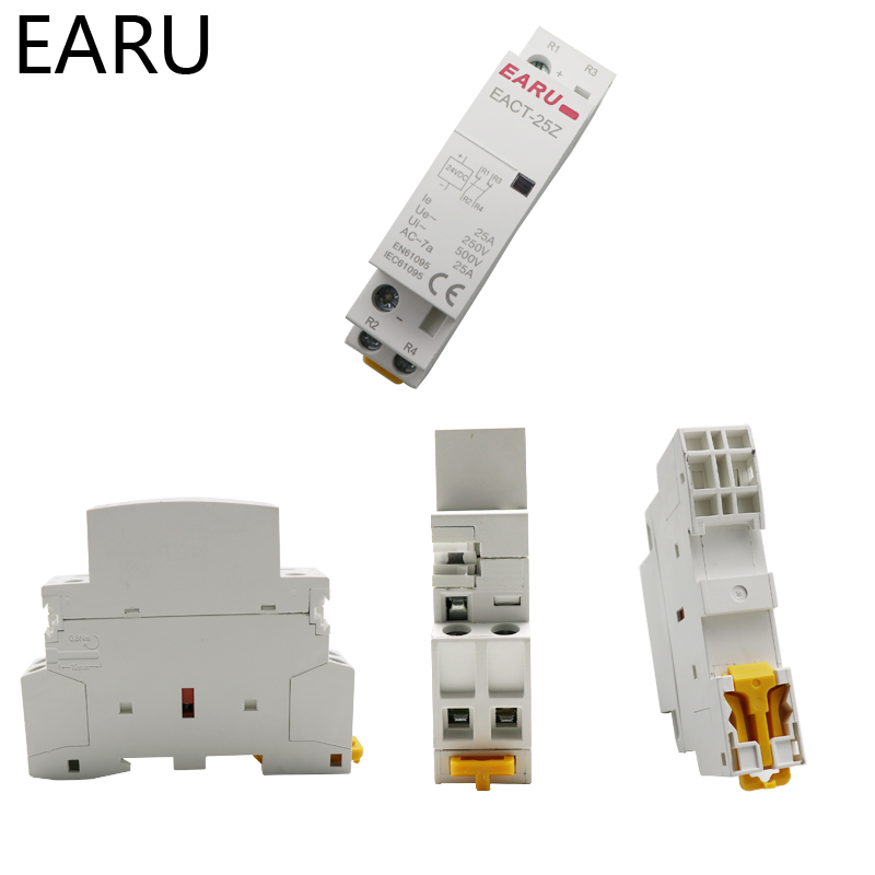 Hd0d7136ac30a4b9a9b1c77816e307c0dQ - EACT-25Z DC 12V 24V 2P 16A 25A 1NO 1NC 2NO 2NC Contact Din Rail Household DC Modular Contactor Switch for Smart Home House Hotel