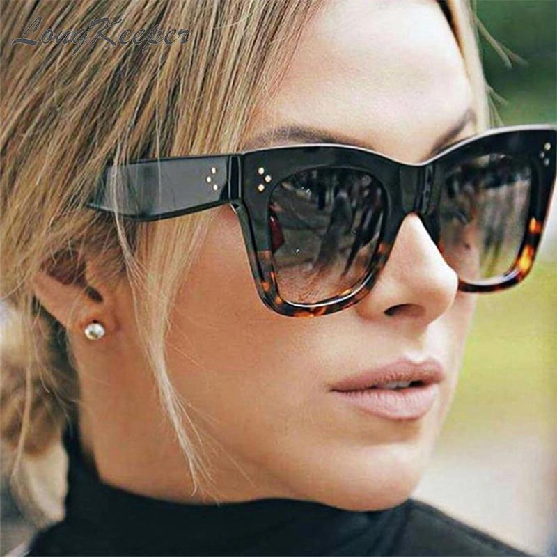 2020 Square Sunglasses Women Big Size Eyewear Lunette Femme Luxury Brand Sunglasses Women Vintage Rivet Sun Glasse UV400