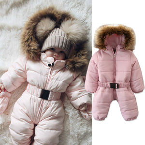 Image 4 - 2019 ฤดูหนาวหิมะหนาสวมเด็กวัยหัดเดินเด็กสาวฤดูหนาว Romper Hooded เด็ก Outwear Jumpsuit Coat เครื่องแต่งกาย